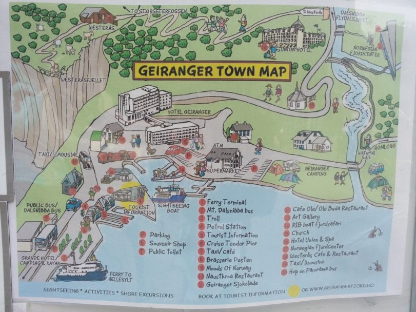 TOURISTIC VILLAGE OF GEIRANGER Aug DJ Travel Experience - Norway map geirangerfjord