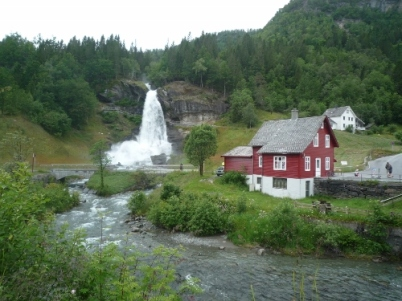 The Steindalsfossen waterfalls